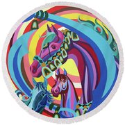 Arabian Sons Round Beach Towel