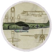 Arado Ar234b-2 - Profile Art Round Beach Towel