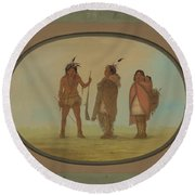 Arapaho Chief, His Wife, And A Warrior Round Beach Towel