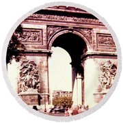 Arc De Triomphe 1955 Round Beach Towel