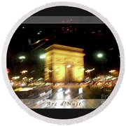 Arc De Triomphe By Bus Tour Greeting Card Poster V2 Round Beach Towel