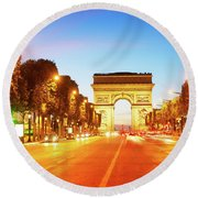 Arc De Triomphe, Paris, France Round Beach Towel