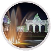 Arcade Du Cinquantenaire Fountain At Night - Brussels Round Beach Towel by Barry O Carroll
