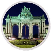 Arcade Du Cinquantenaire At Night - Brussels Round Beach Towel