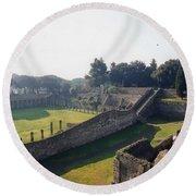 Arcaded Court Of The Gladiators Pompeii Round Beach Towel