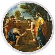 Arcadian Shepherds Round Beach Towel by Nicolas Poussin