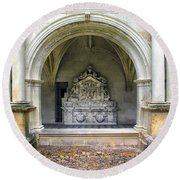 Arch At Fontevraud Abbey  Round Beach Towel