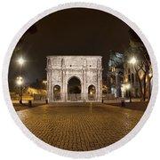 Arch At Night Round Beach Towel