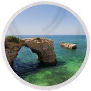 Arch Of Albandeira Beach Round Beach Towel