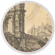 Arch Of Trajan In Ancona  Round Beach Towel