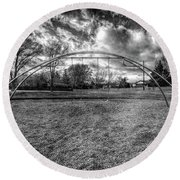 Arch Swing Set In The Park 76 In Black And White Round Beach Towel