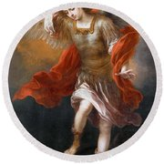 Archangel Michael Hurls The Devil Into The Abyss Round Beach Towel
