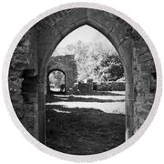 Arched Door At Ballybeg Priory In Buttevant Ireland Round Beach Towel