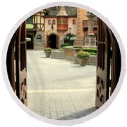 Arched Doorway With A Bavarian View Round Beach Towel