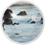 Arched Rock Wave Break Round Beach Towel