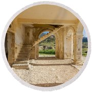 Arches, Entrance And Stairs Of Derelict Agios Georgios Church Round Beach Towel