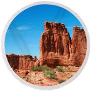 Arches National Park From A Utah Highway Round Beach Towel