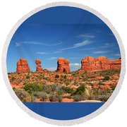Arches National Park - Hoodoos Carved In Entrada Sandstone Round Beach Towel