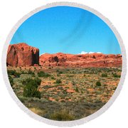 Arches National Park In Moab, Utah Round Beach Towel
