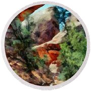 Arches National Park Trail Round Beach Towel