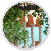 Arches Thru The Trees Round Beach Towel