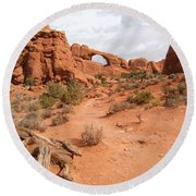 Arches With Wood Round Beach Towel