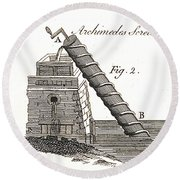 Archimedes Screw, 1769 Round Beach Towel