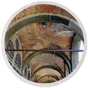 Architectural Ceiling Of The Building Owned By The Rialto Market In Venice, Italy Round Beach Towel