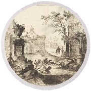 Architectural Fantasy With Roman Ruins Round Beach Towel