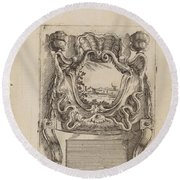 Architectural Motif With A Landscape Round Beach Towel