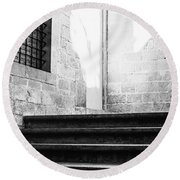 Architectural Stone Stairs Round Beach Towel
