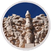 Architecture At The Lensic Theater In Santa Fe Round Beach Towel