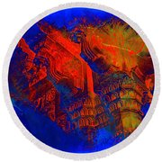 Architecture Detail  Amber Fort Palace India Rajasthan Jaipur Abstract Square 1a Round Beach Towel