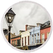 Architecture Of The French Quarter In New Orleans Round Beach Towel