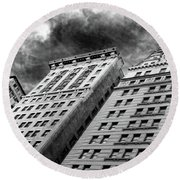 Architecture Tall Buildings Bw Nyc  Round Beach Towel