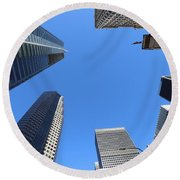 Architecture Tall Color Buildings Round Beach Towel