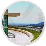 Architecture View Getty Los Angeles  Round Beach Towel