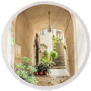 Archway And Stairs In Italy Round Beach Towel