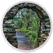Archway To The Forest Round Beach Towel