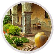 Archways At The Mission, Mission San Juan Capistrano, California Round Beach Towel