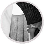 Arcs And Tangents Houston Water Wall In Black And White Round Beach Towel