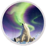 Arctic Kiss Round Beach Towel