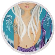 Arctic Mermaid Round Beach Towel