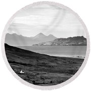 Ardnamurchan Landscape Toward The Islands Of Eigg And Rhum.    Black And White Round Beach Towel