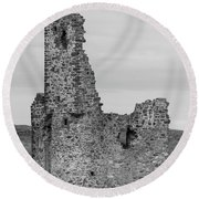 Ardvrek Castle 0945 Bw Round Beach Towel