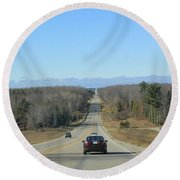 Are We Almost There ? Round Beach Towel