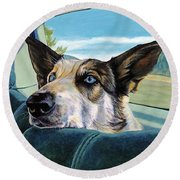 Are We There Yet? Round Beach Towel
