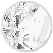 Are You Curious Round Beach Towel