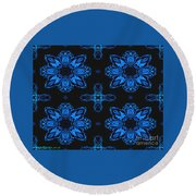 Area Blue Abstract Round Beach Towel