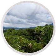 Arenal Lake And Volcano Round Beach Towel